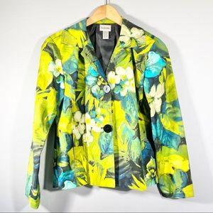 CHICOS tropical floral blazer jacket Sz 0